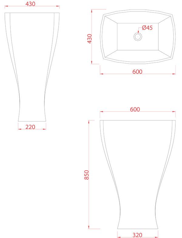Vasque colonne design Jazz d'Artceram - Schéma des dimenions
