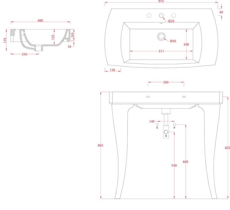 Lavabo sur pieds design Jazz 90 d'Artceram - Schéma des dimenions