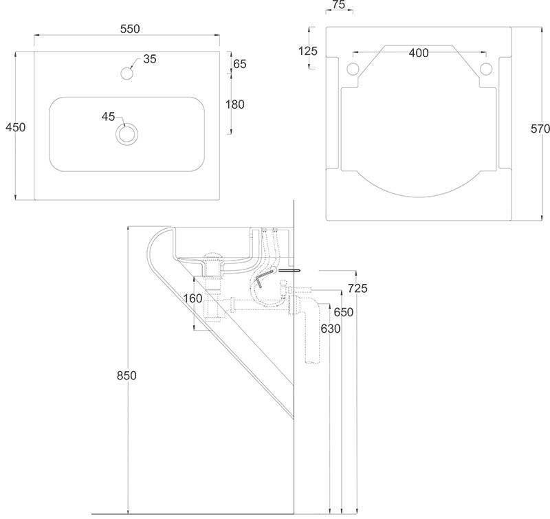 Vasque suspendue Artceram La Fontana 55 x 45 cm - schéma des dimensions