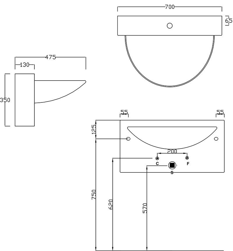 Dimensions vasque suspendue design en céramique Wall de Artceram