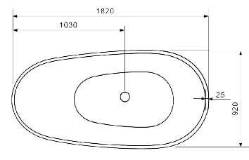 schéma dimensionnelle de la baignoire PBMW009