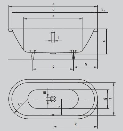 schéma baignoire acier centro