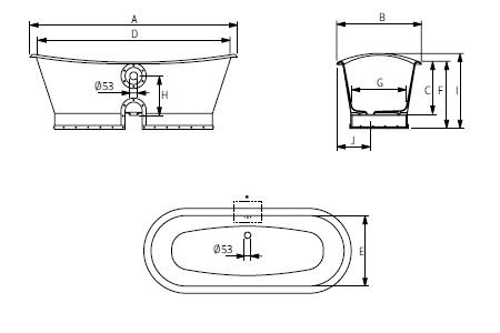 Baignoire barra en fonte blanche et cuivre type eiffel made europe masall - Poids baignoire fonte ...
