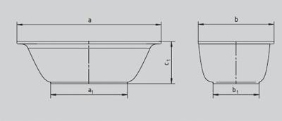 schema baignoire acier ellipso