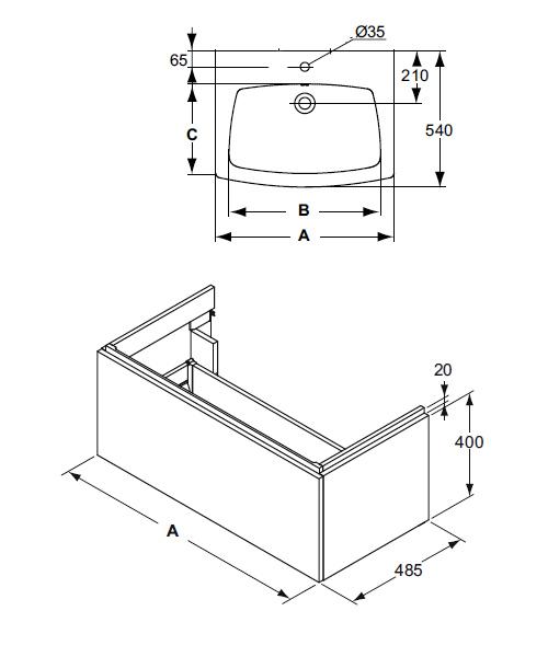 schema meuble Step en 70 cm