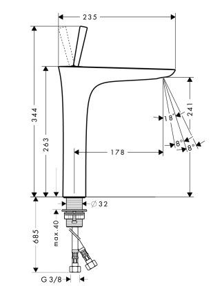 schema robinet puradiva 240 rehausse hansgrohe