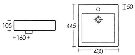 schema vasque à poser carré quadra class
