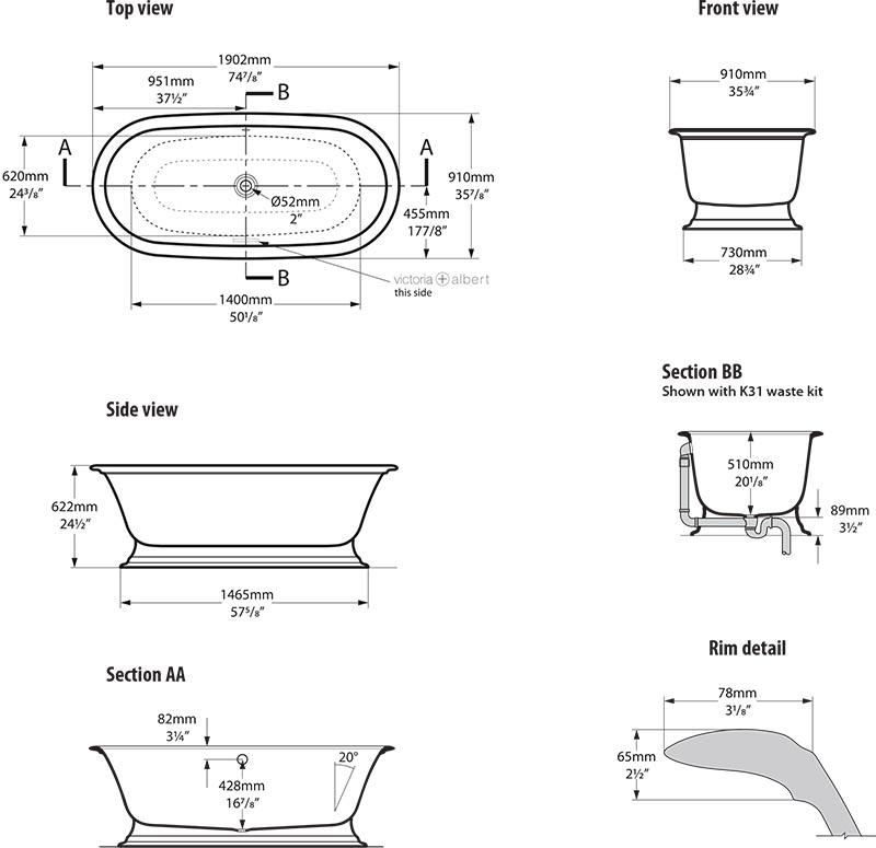 baignoire_design_elwick_de_victoria_albert_schema_technique_des_dimensions