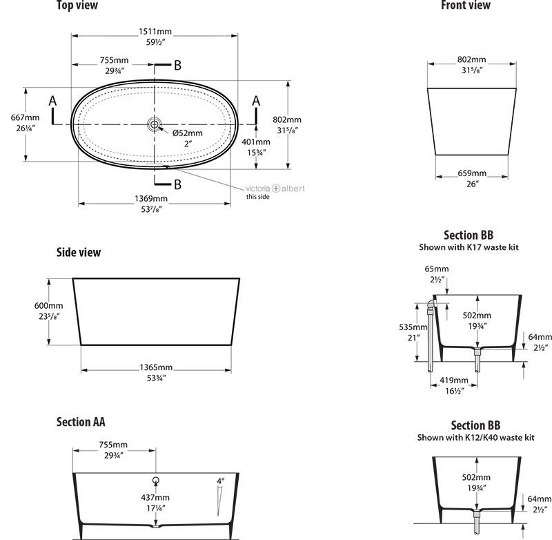 baignoire_design_ios_de_victoria_albert_schema_technique_des_dimensions