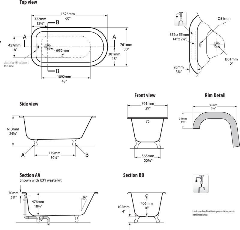 baignoire_design_wessex_de_victoria_albert_schema_technique_des_dimensions