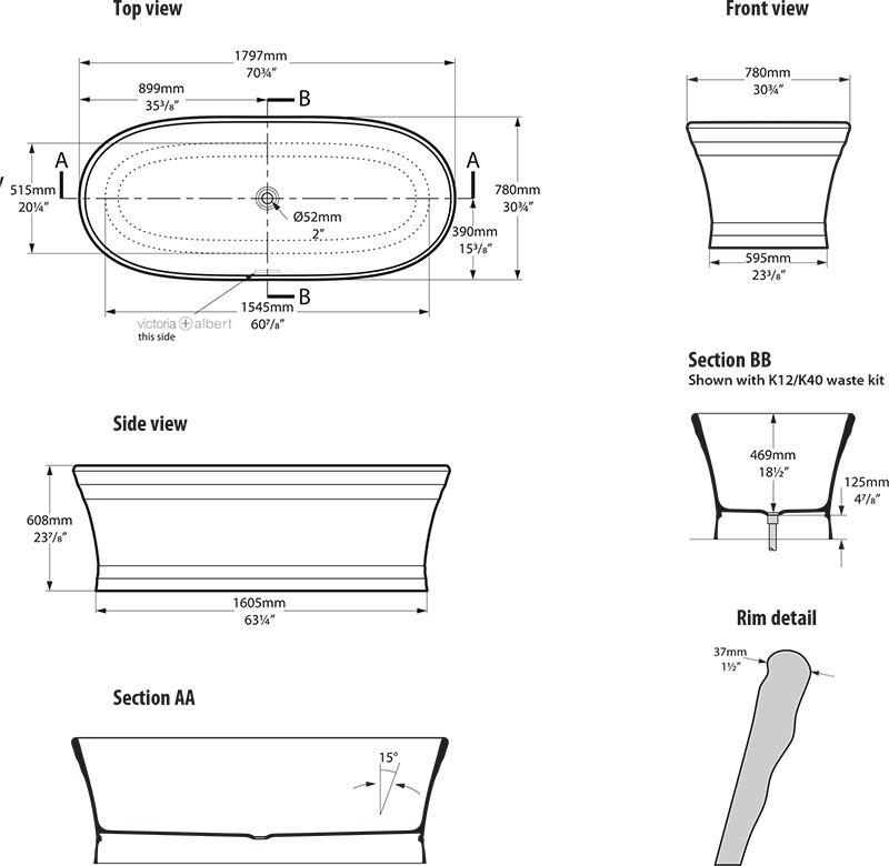Dimensions standard baignoire uac duconomie baignoire for Longueur baignoire standard