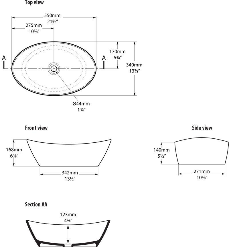 Schéma technique dimensions vasque design Amalfi 55 Victoria Albert