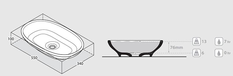Schéma volume vasque design Cabrits 55 Victoria Albert