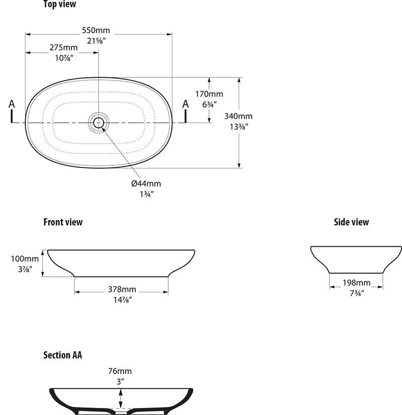 Schéma technique dimensions vasque design Cabrits 55 Victoria Albert