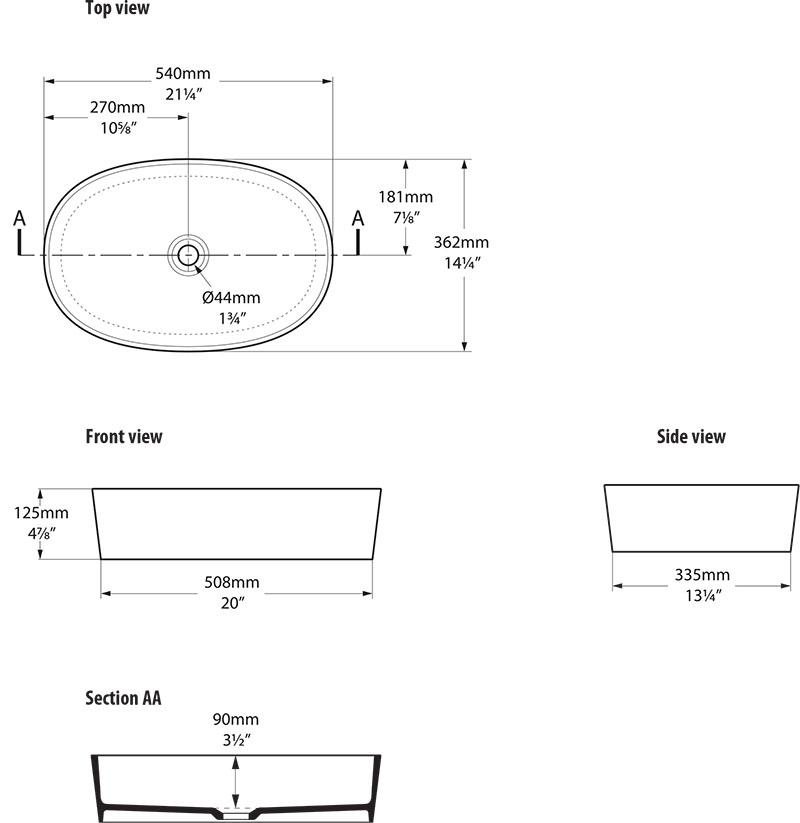Schéma technique dimensions vasque design IOS 54 Victoria Albert