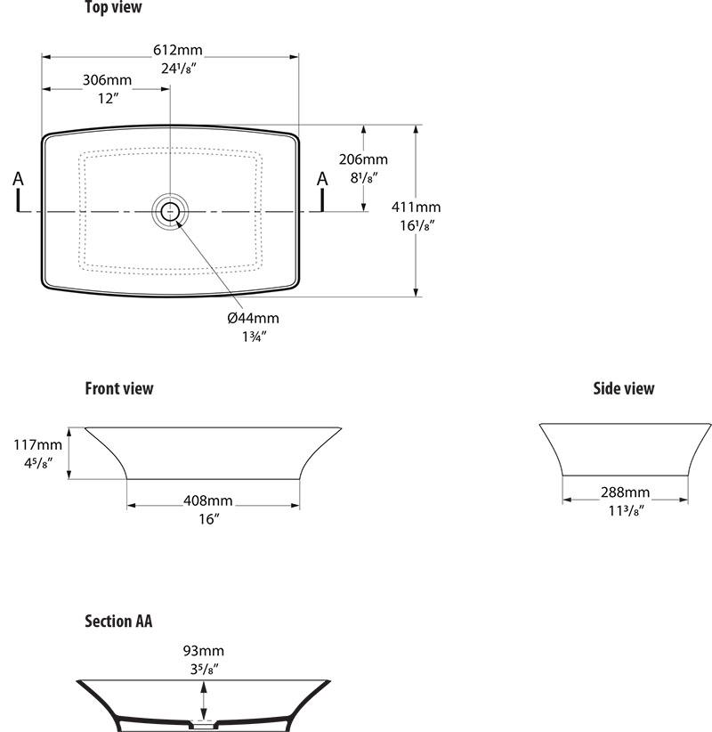 Schéma technique dimensions vasque design Ravello 60 Victoria Albert