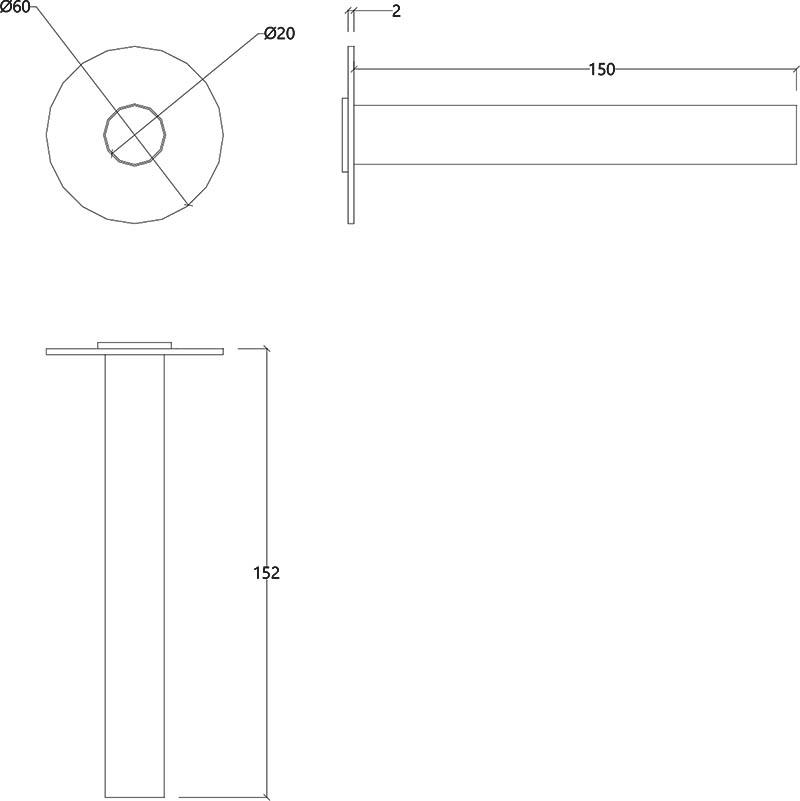 Bec de bain design droit en inox brossé Lapa Water Evolution T7.671.IE schéma des dimensions