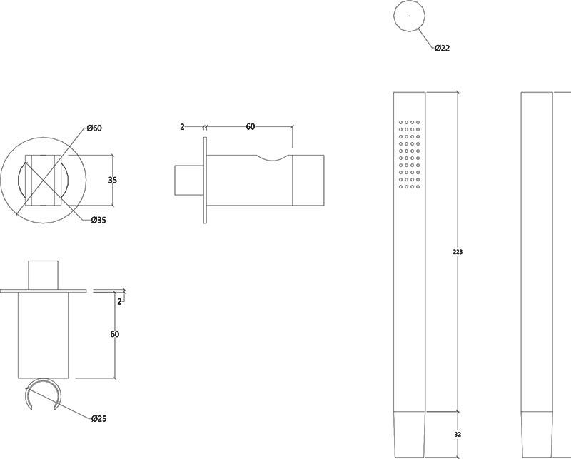 Douchette design sortie murale directe en inox brossé Lapa Water Evolution T7.621.IE schéma des dimensions
