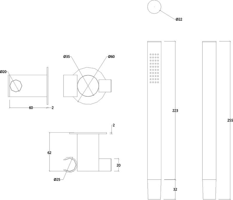 Douchette design avec support orientable en inox mat Lapa Water Evolution T7.622.IE schéma des dimensions