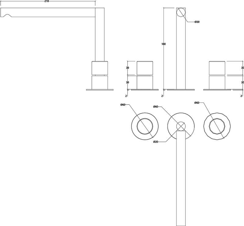 Robinet haut mélangeur 3 trous design en inox mat Lapa Water Evolution T7.12.3F.IE schéma des dimensions