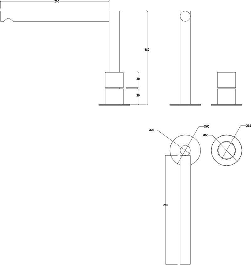 Robinet haut mitigeur 2 trous design en inox mat Lapa Water Evolution T7.12.IE schéma des dimensions