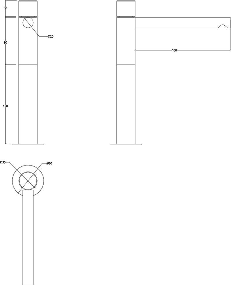 Robinet haut mitigeur monocommande design en inox mat Lapa Water Evolution T7.15.IE schéma des dimensions