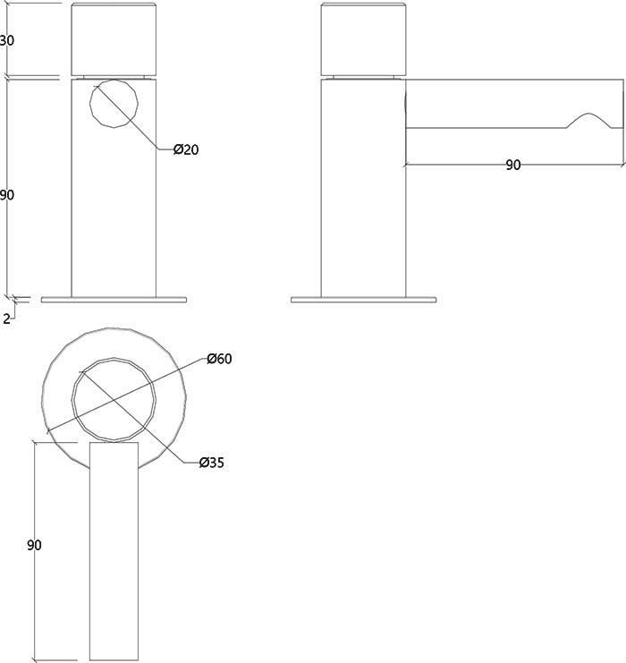Robinet mitigeur monocommande design en inox mat Lapa Water Evolution T7.10.IE schéma des dimensions