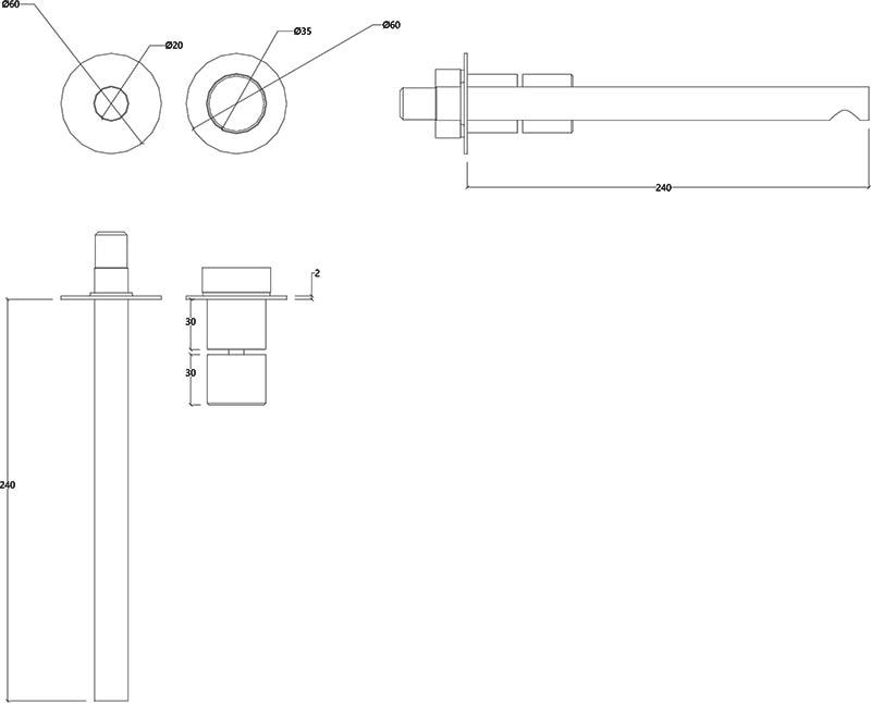 Robinet mitigeur mural 2 trous design en inox mat Lapa Water Evolution T7.17.16B.IE schéma des dimensions