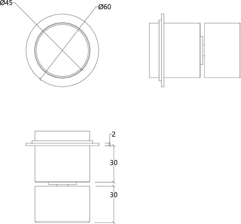 Vanne mitigeur monocommande murale design en inox mat Lapa Water Evolution T7.42B.IE schéma des dimensions