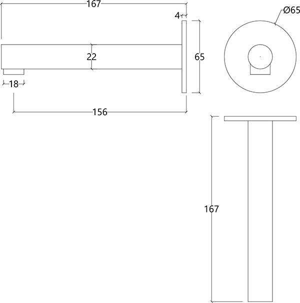 Bec de bain design droit en inox brossé S22 Water Evolution T4.671.IE schéma des dimensions