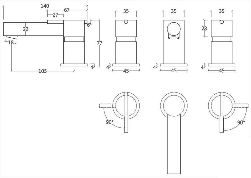 Robinet mélangeur 3 trous design en inox brossé S22 Water Evolution T4.12.3F.IE schéma des dimensions