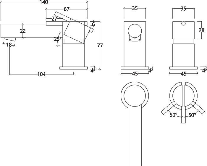 Robinet mitigeur 2 trous design en inox brossé S22 Water Evolution T4.12.IE schéma des dimensions