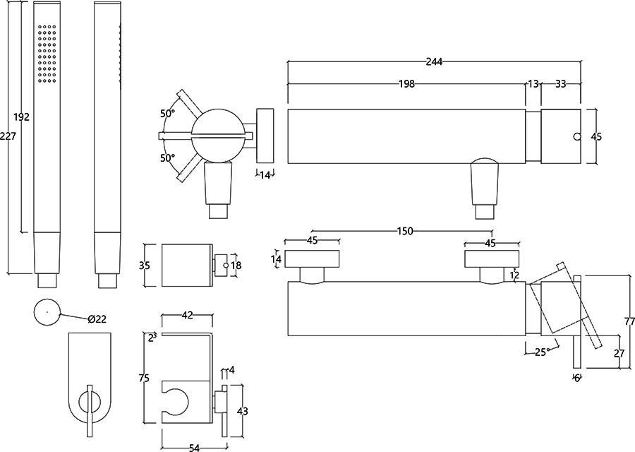 Robinet mitigeur design avec douchette en inox brossé S22 Water Evolution T4.40.IE schéma des dimensions