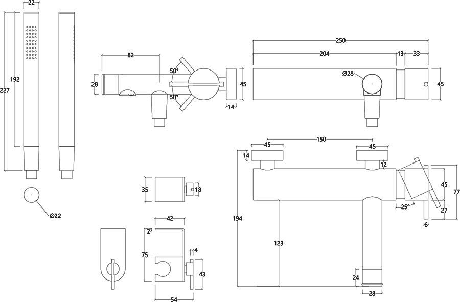 Robinet mitigeur bain douche design en inox brossé S22 Water Evolution T4.30.IE schéma des dimensions