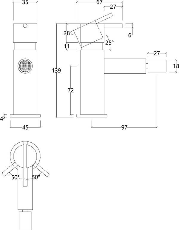 Mitigeur bidet monocommande design en inox brossé S22 Water Evolution T4.20.IE schéma des dimensions