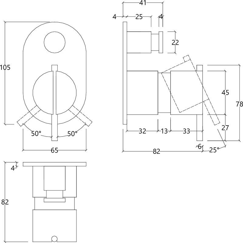 mitigeur double sortie bain douche encastr e mont sur plaque en inox bross. Black Bedroom Furniture Sets. Home Design Ideas