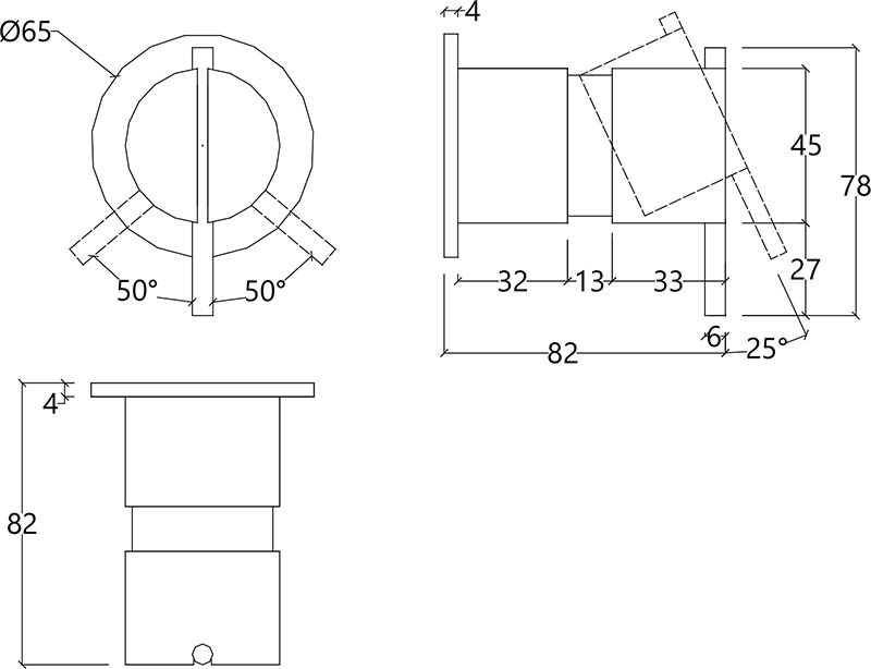 Vanne mitigeur encastrée design une sortie en inox brossé S22 Water Evolution T4.42B.IE schéma des dimensions