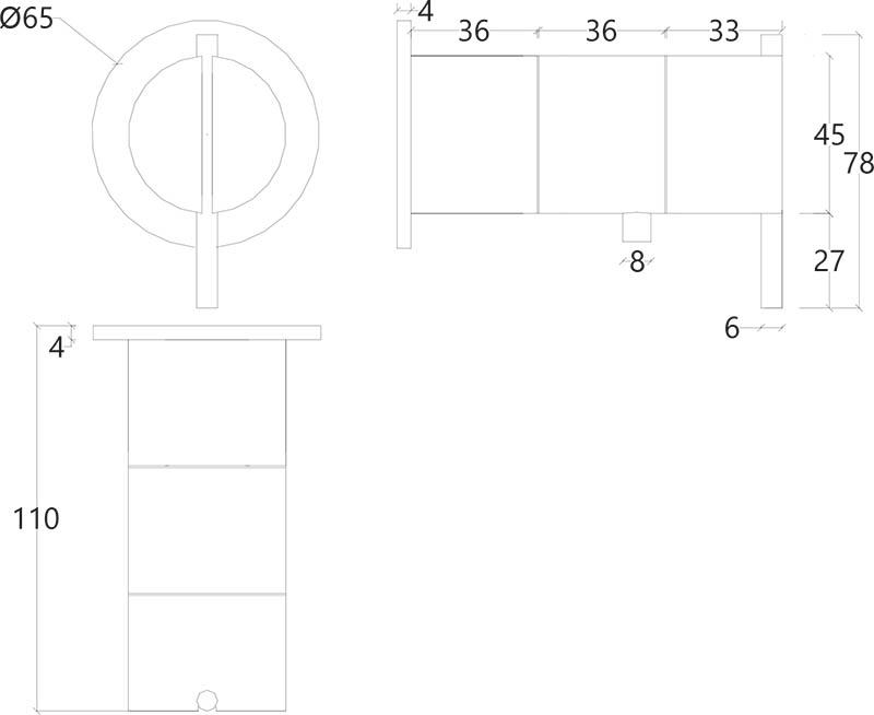 Vanne mitigeur thermostatique encastrée design une sortie en inox brossé S22 Water Evolution T4.42TB.IE schéma des dimensions