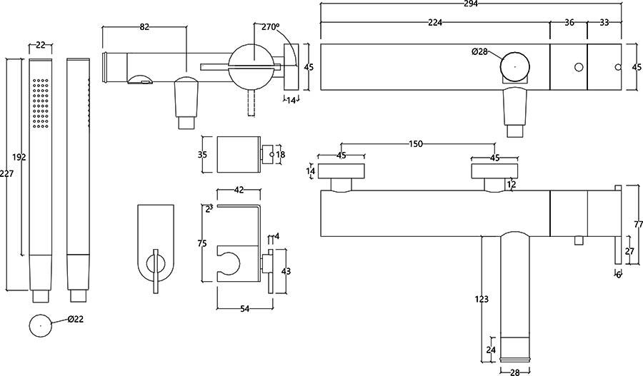 Robinet thermostatique mitigeur bain douche design en inox brossé S22 Water Evolution T4.30T.IE schéma des dimensions