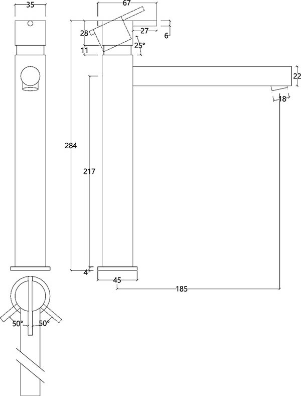Grand robinet mitigeur monocommande design en inox brossé S22 Water Evolution T4.15.IE schéma des dimensions