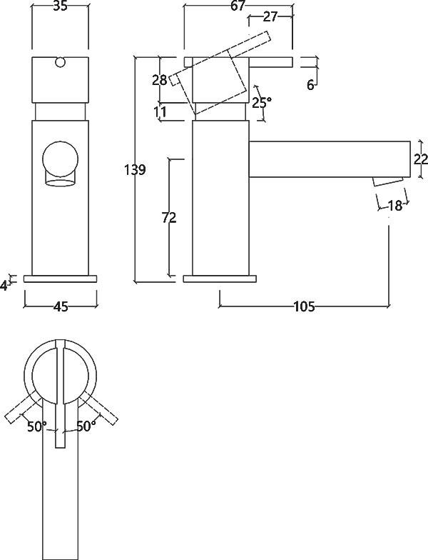 Robinet mitigeur monocommande design en inox brossé S22 Water Evolution T4.10.IE schéma des dimensions