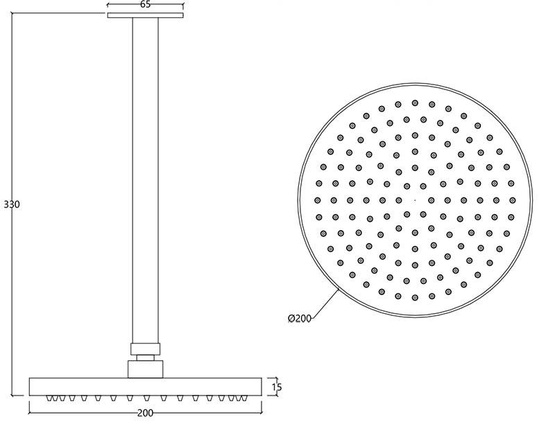 Ciel de bain plafond en inox brossé S22 Water Evolution T4.642.IE schéma des dimensions