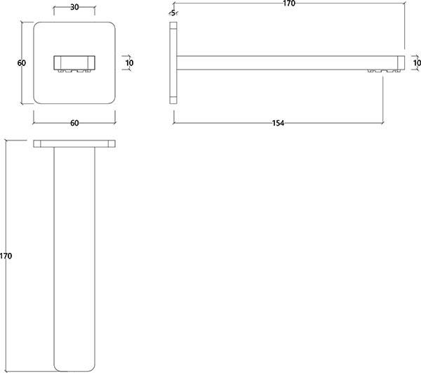 Bec de bain design droit en métal chromé itap Water Evolution T6.671.01 schéma des dimensions
