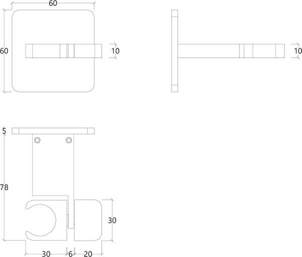 Crochet support douche en métal chromé itap Water Evolution T6.623.01 schéma des dimensions