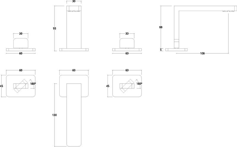 Robinet mélangeur 3 trous design chromé ITap Water Evolution T6.12.3F.01 schéma des dimensions