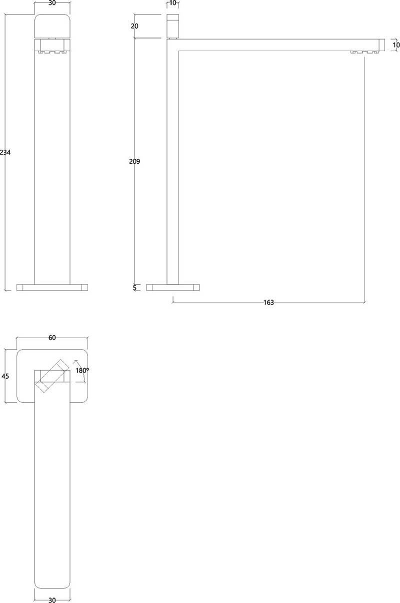 Robinet mitigeur haut monocommande design chromé ITap Water Evolution T6.15.01 schéma des dimensions