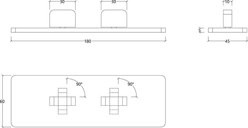 Mitigeur encastrée design double commande et une sortie en acier chromé S22 Water Evolution T6.42.01 schéma des dimensions