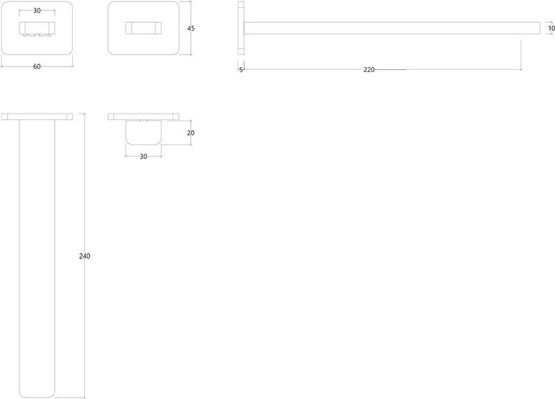 Robinet mitigeur mural design chromé ITap Water Evolution T6.16.01 schéma des dimensions