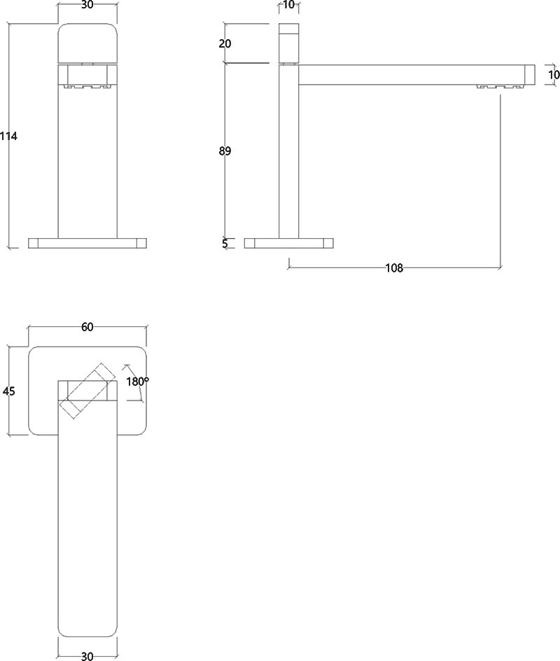 Robinet mitigeur monocommande design chromé ITap Water Evolution T6.10.01 schéma des dimensions
